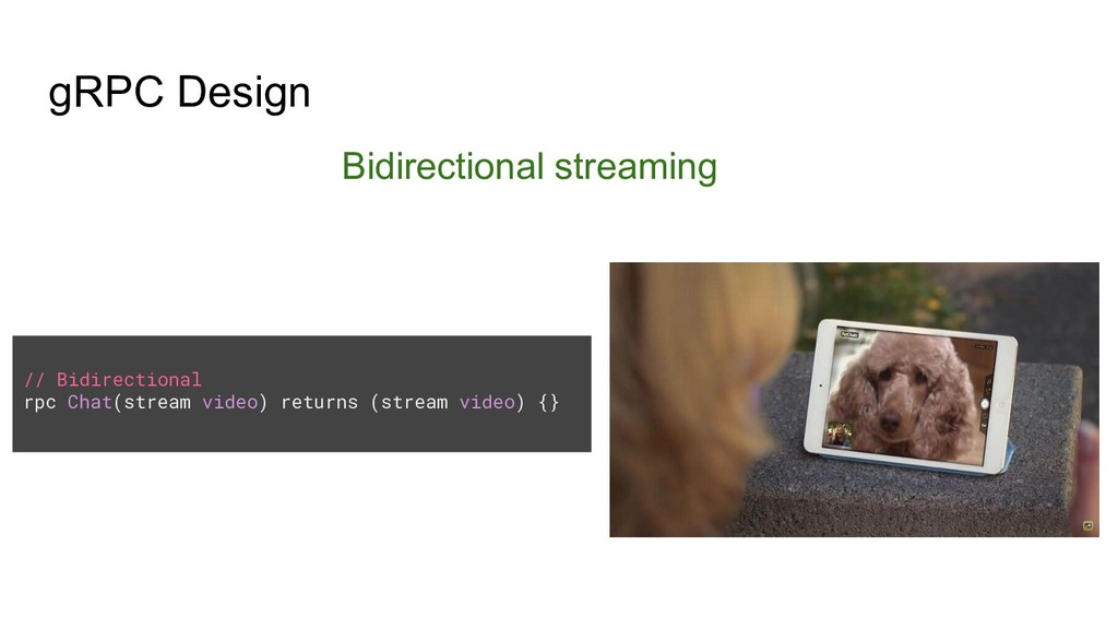 gRPC Design Bidirectional streaming // Bidirect...