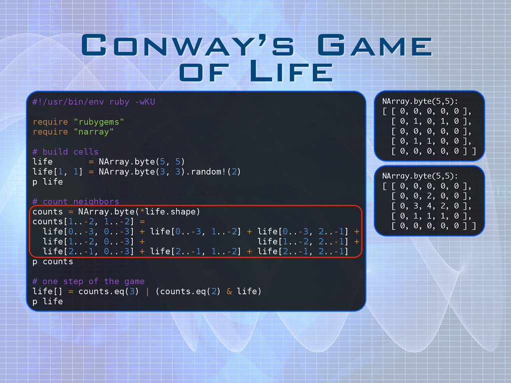 Conway's Game of Life NArray.byte(5,5): [ [ 0,...