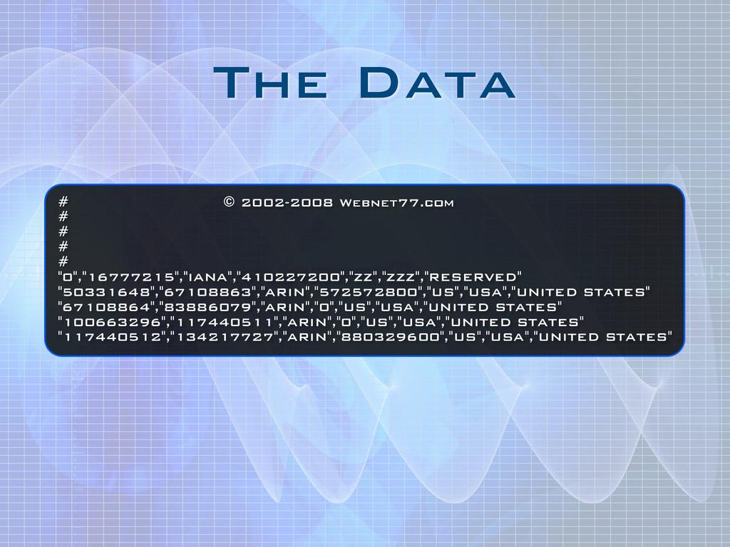 """The Data # © 2002-2008 Webnet77.com # # # # """"0""""..."""