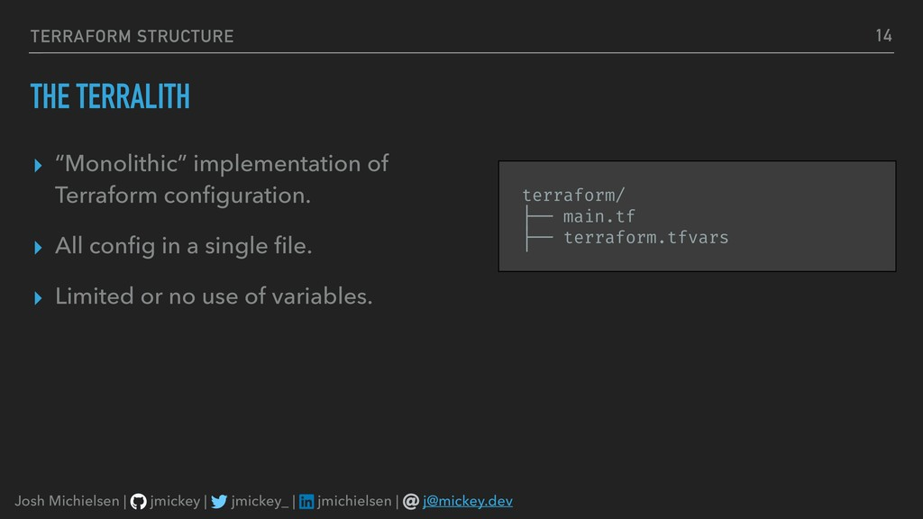 """TERRAFORM STRUCTURE THE TERRALITH ▸ """"Monolithic..."""