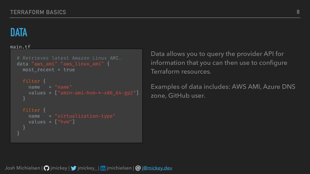 TERRAFORM BASICS DATA Data allows you to query ...