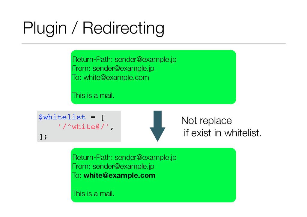 Plugin / Redirecting Return-Path: sender@exampl...
