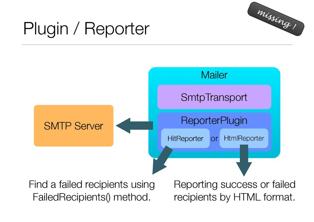 Plugin / Reporter missing ! Mailer SmtpTranspor...