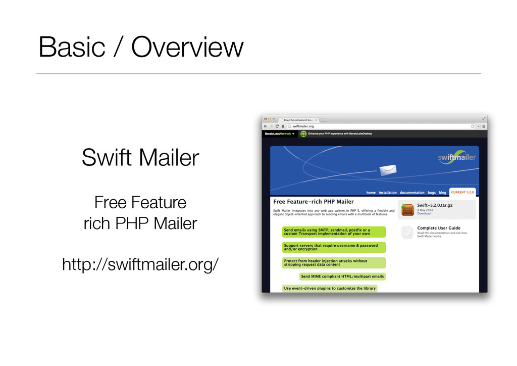 Basic / Overview Swift Mailer Free Feature ric...