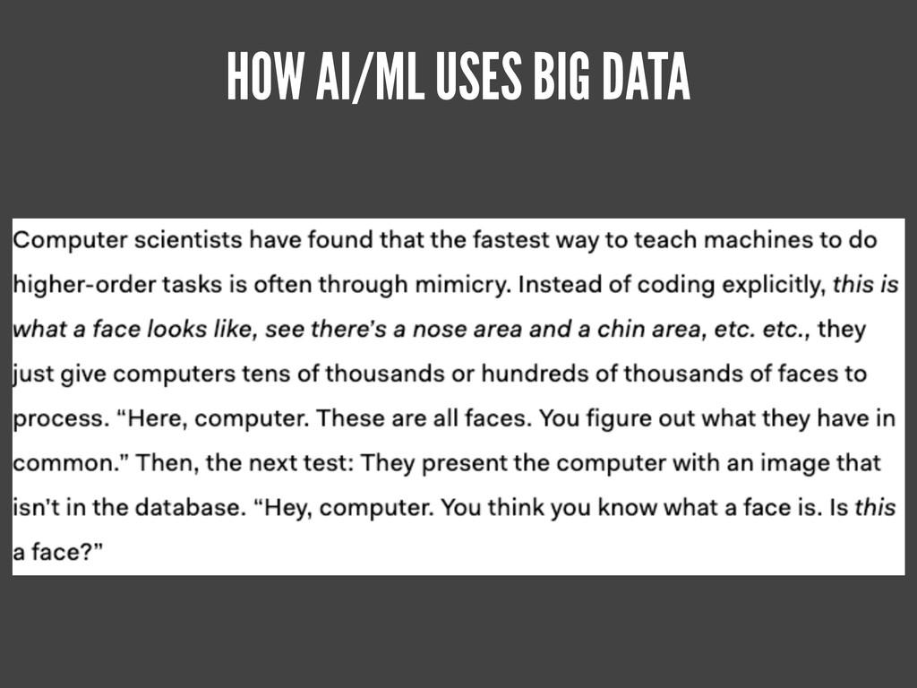 HOW AI/ML USES BIG DATA