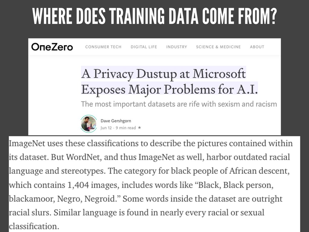 WHERE DOES TRAINING DATA COME FROM?