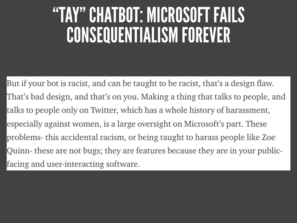 """""""TAY"""" CHATBOT: MICROSOFT FAILS CONSEQUENTIALISM..."""