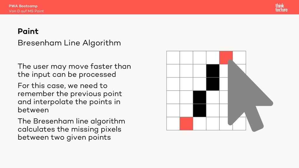 Bresenham Line Algorithm The user may move fast...