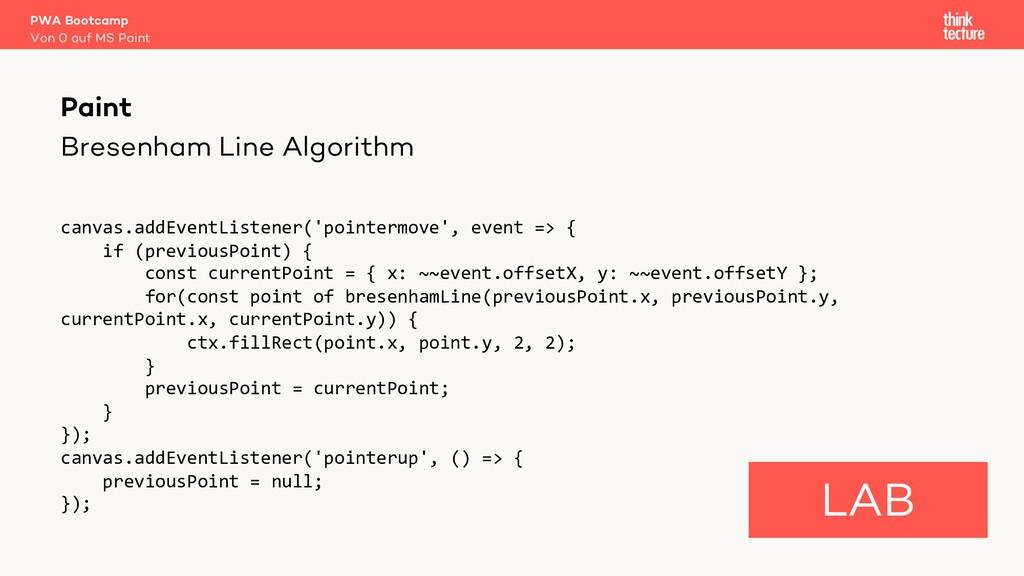 Bresenham Line Algorithm canvas.addEventListene...