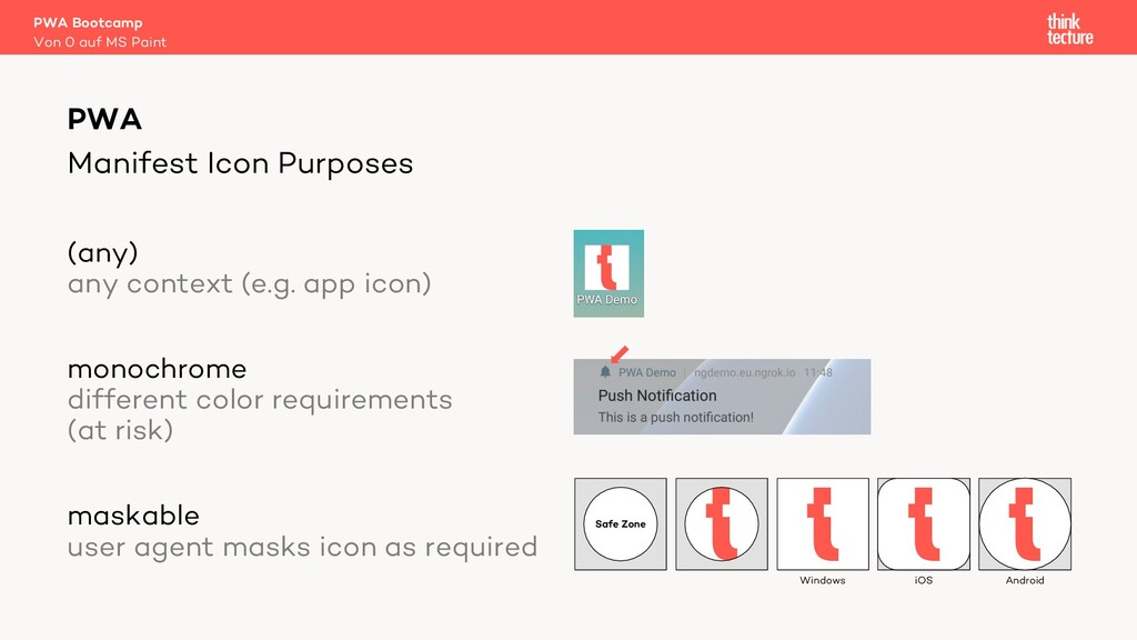 Manifest Icon Purposes (any) any context (e.g. ...