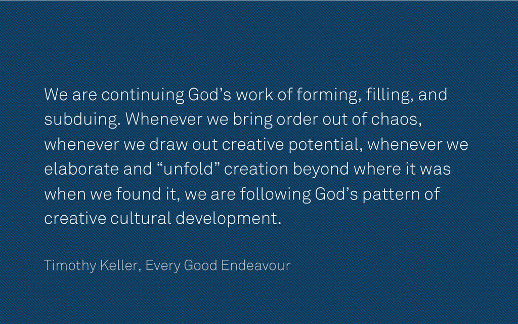 We are continuing God's work of forming, fillin...