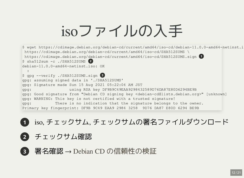 isoファイルの入手 isoファイルの入手 1 iso, チェックサム, チェックサムの署名フ...
