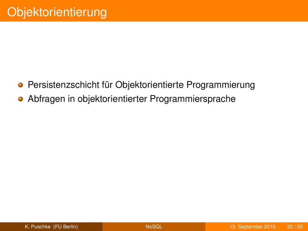 Objektorientierung Persistenzschicht für Objekt...