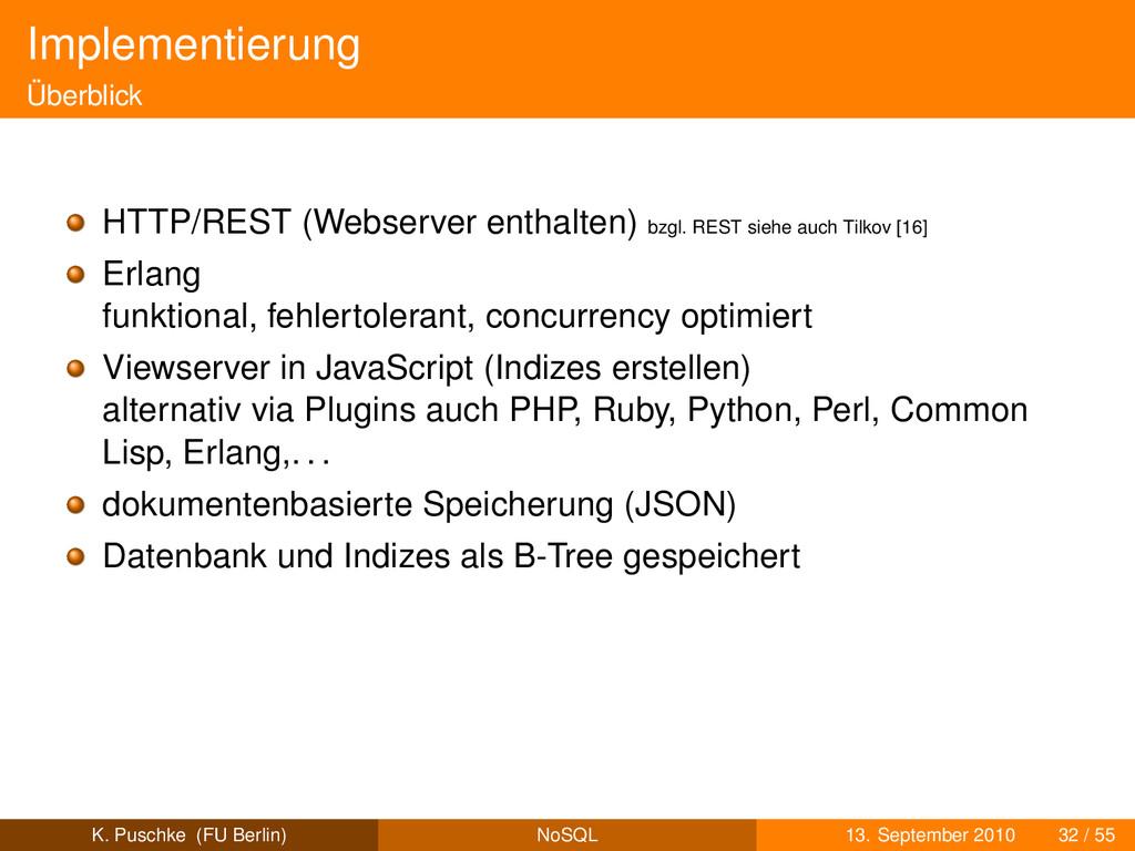 Implementierung Überblick HTTP/REST (Webserver ...