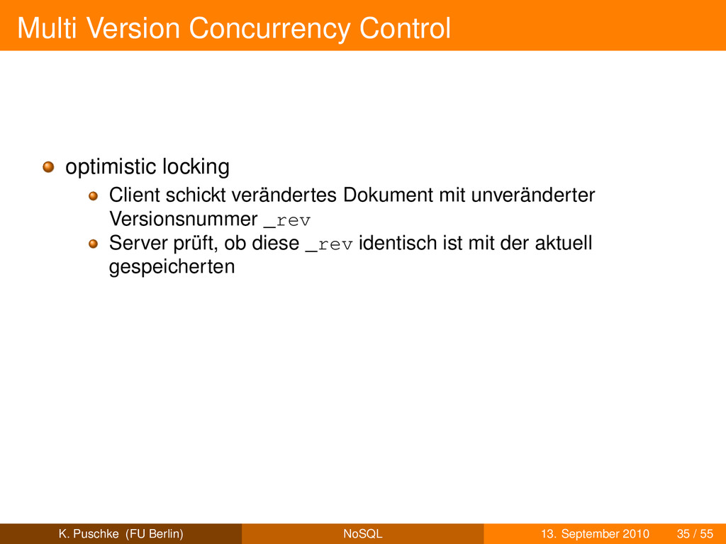 Multi Version Concurrency Control optimistic lo...