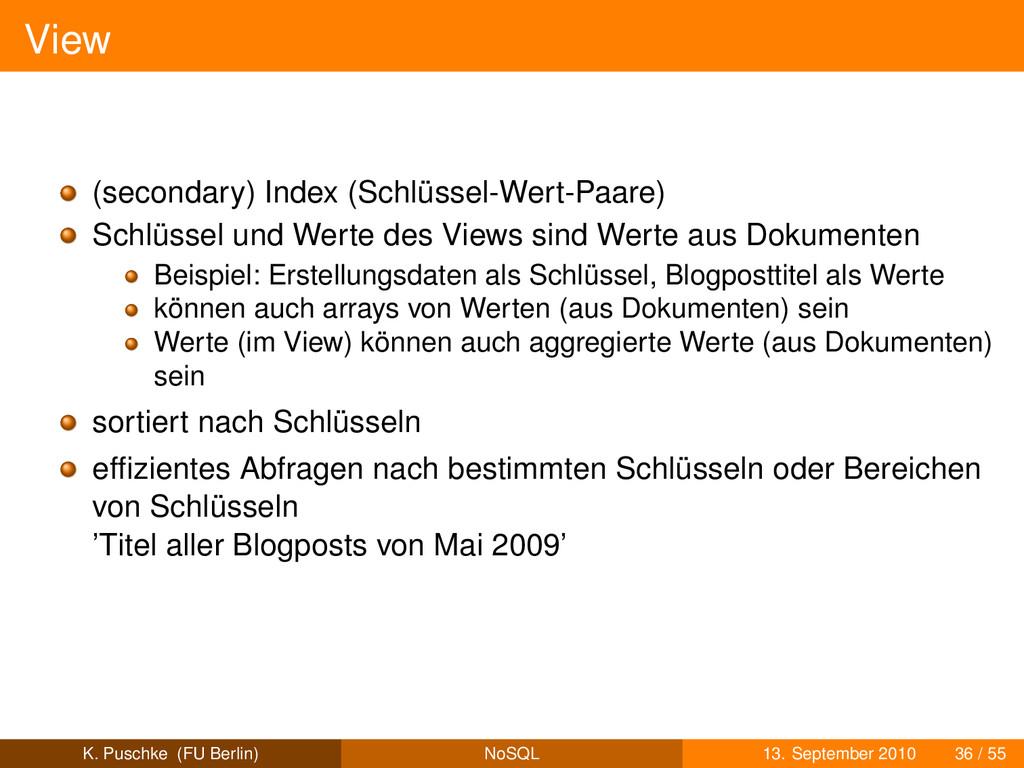 View (secondary) Index (Schlüssel-Wert-Paare) S...