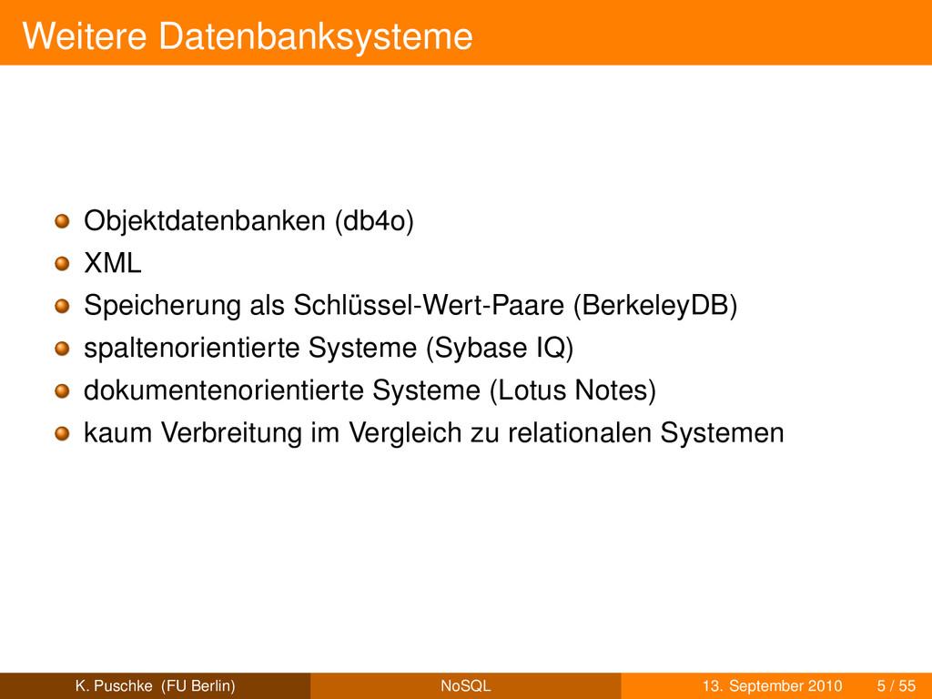 Weitere Datenbanksysteme Objektdatenbanken (db4...