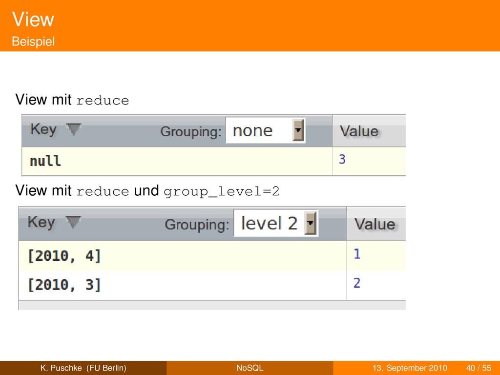 View Beispiel View mit reduce View mit reduce u...