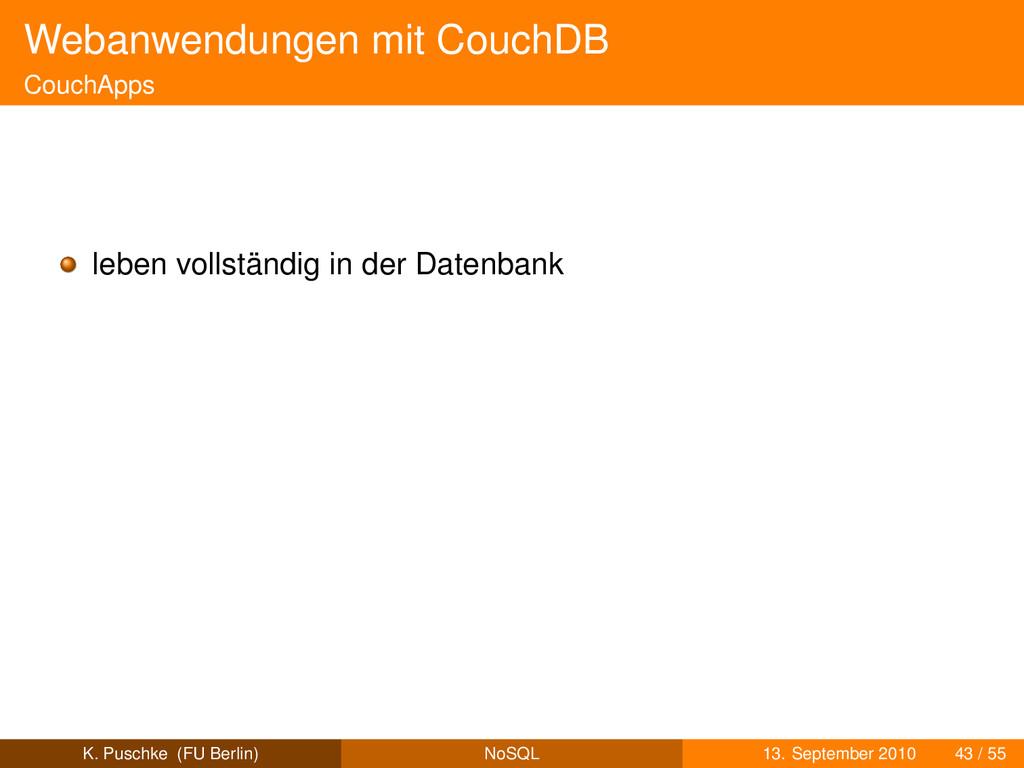 Webanwendungen mit CouchDB CouchApps leben voll...