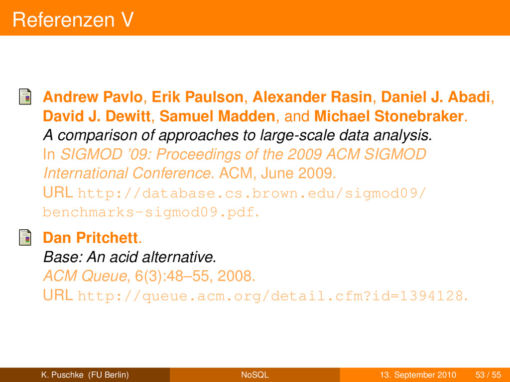 Referenzen V Andrew Pavlo, Erik Paulson, Alexan...