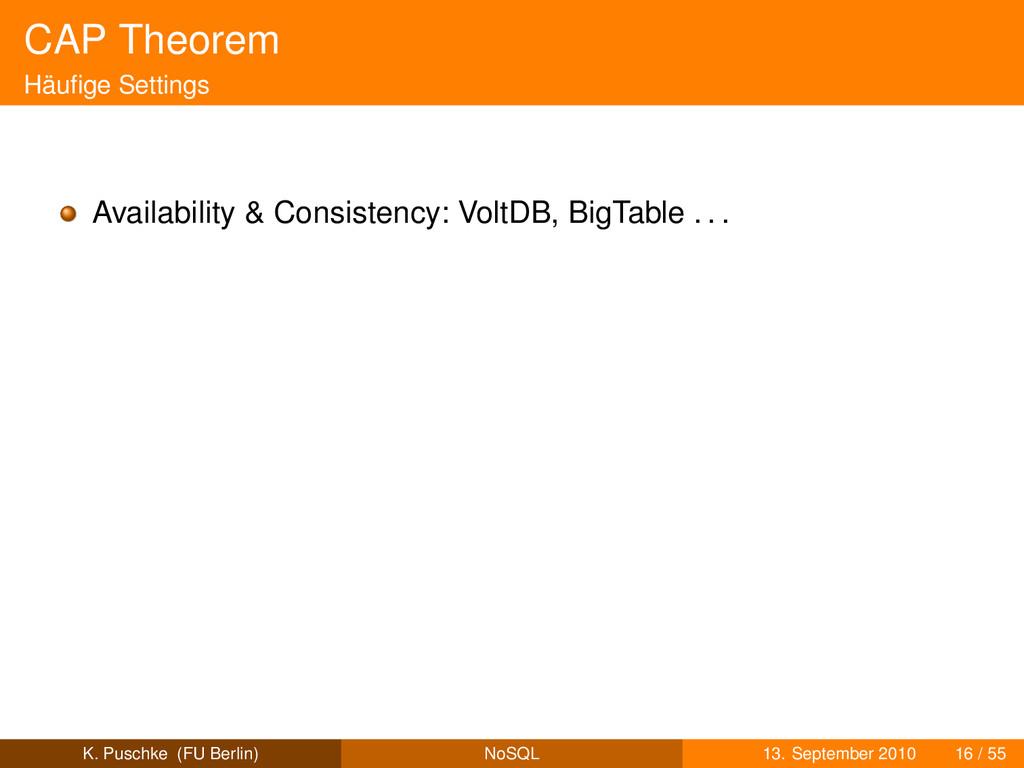 CAP Theorem Häufige Settings Availability & Cons...