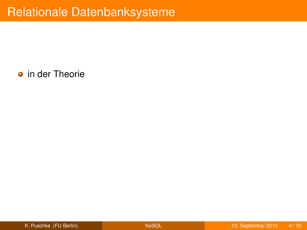 Relationale Datenbanksysteme in der Theorie K. ...