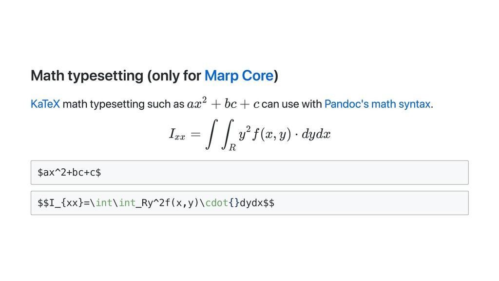 Math typesetting (only for Marp Core) KaTeX mat...