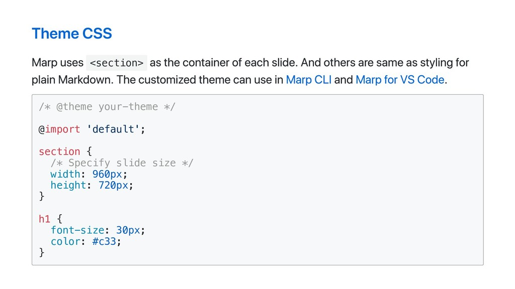 Theme CSS Marp uses <section> as the container ...