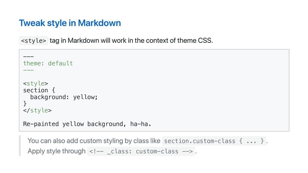 Tweak style in Markdown <style> tag in Markdown...