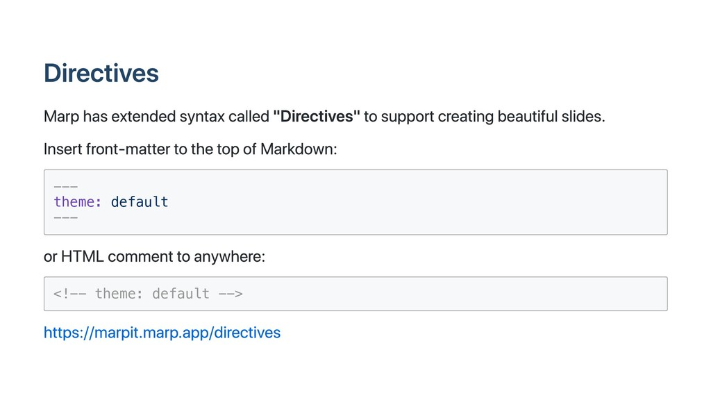 "Directives Marp has extended syntax called ""Dir..."