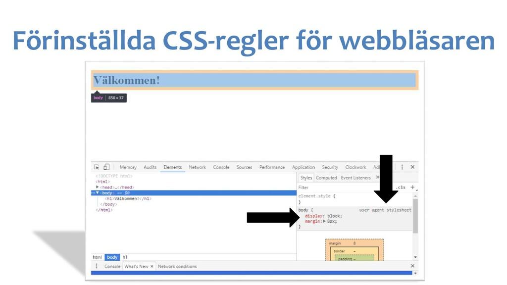 Förinställda CSS-regler för webbläsaren