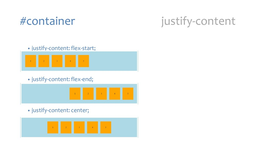 #container justify-content • justify-content: f...