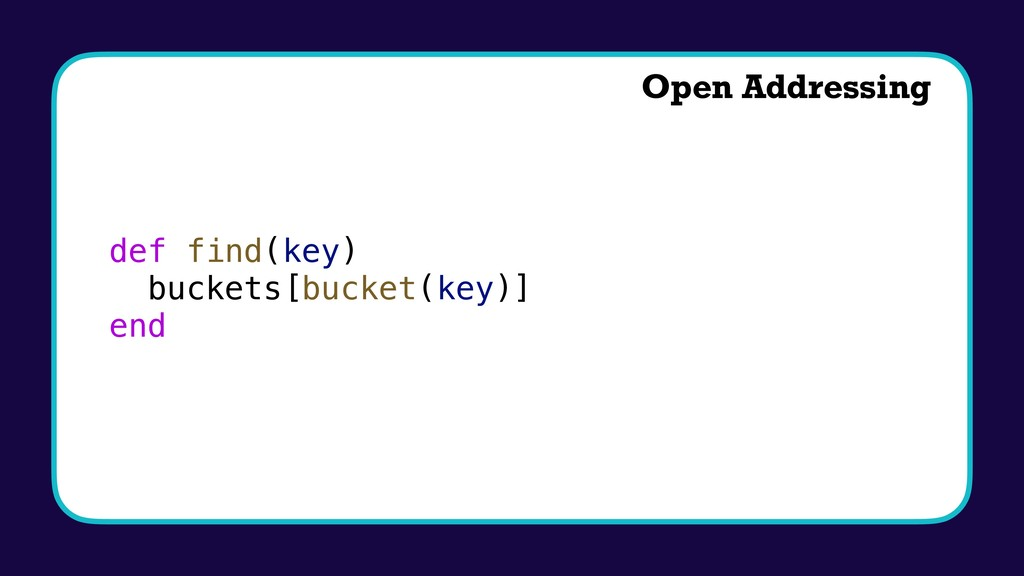 def find(key) buckets[bucket(key)] end Open Add...