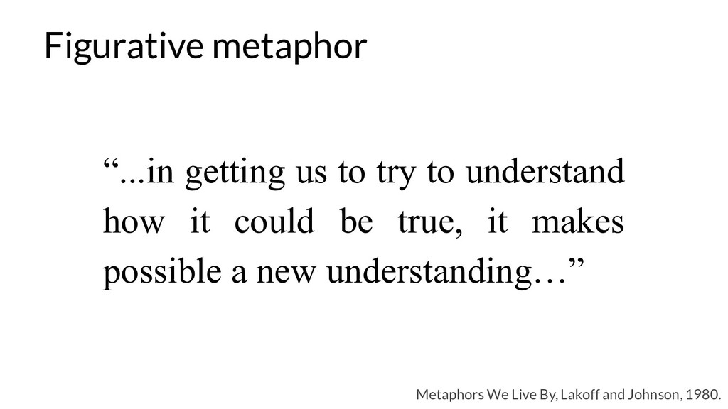 Figurative metaphor Metaphors We Live By, Lakof...