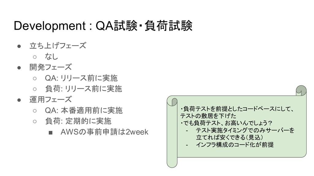 Development : QA試験・負荷試験 ● 立ち上げフェーズ ○ なし ● 開発フェー...