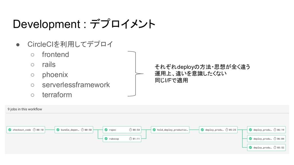 Development : デプロイメント ● CircleCIを利用してデプロイ ○ fro...