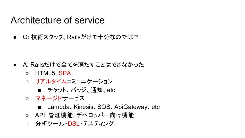 Architecture of service ● Q: 技術スタック、Railsだけで十分な...