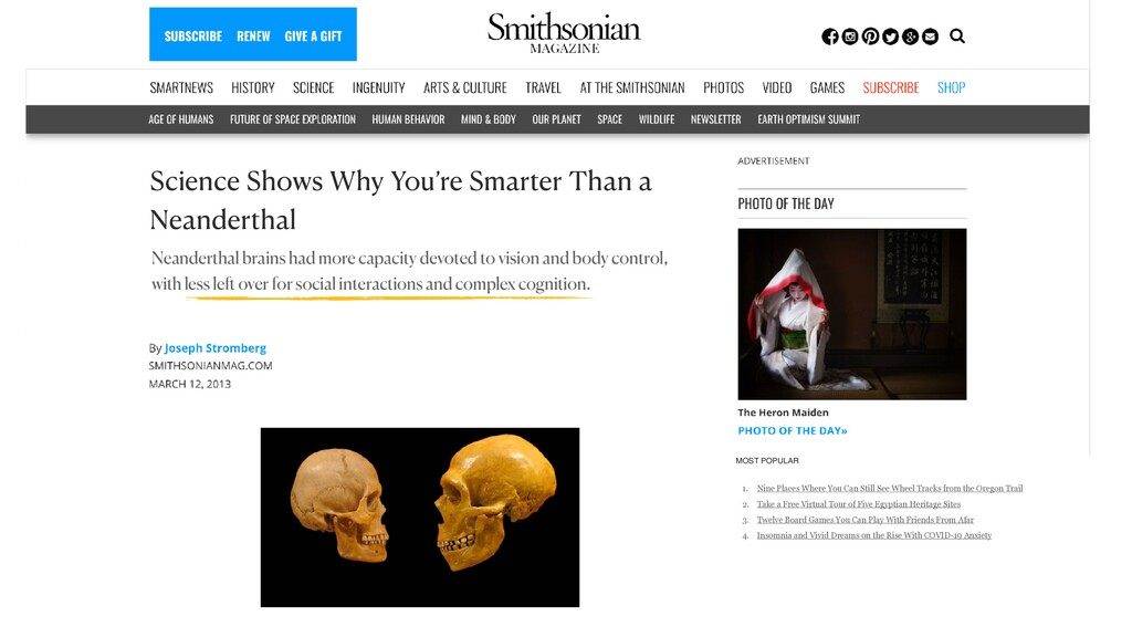 Science Shows Why You're Smarter Than a Neander...