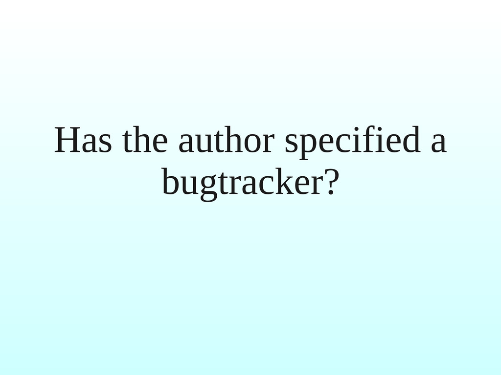Has the author specified a bugtracker?