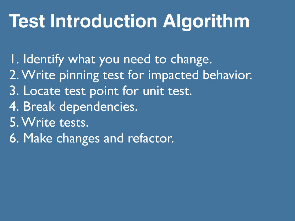 Test Introduction Algorithm 1. Identify what yo...