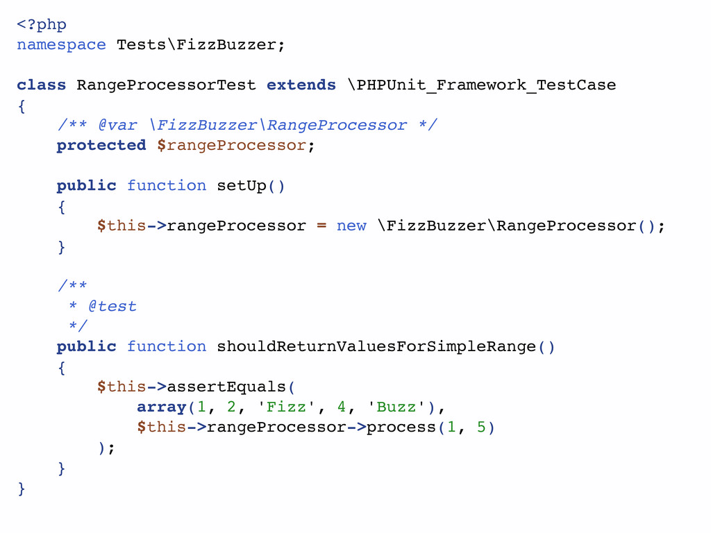 <?php namespace Tests\FizzBuzzer; class RangePr...