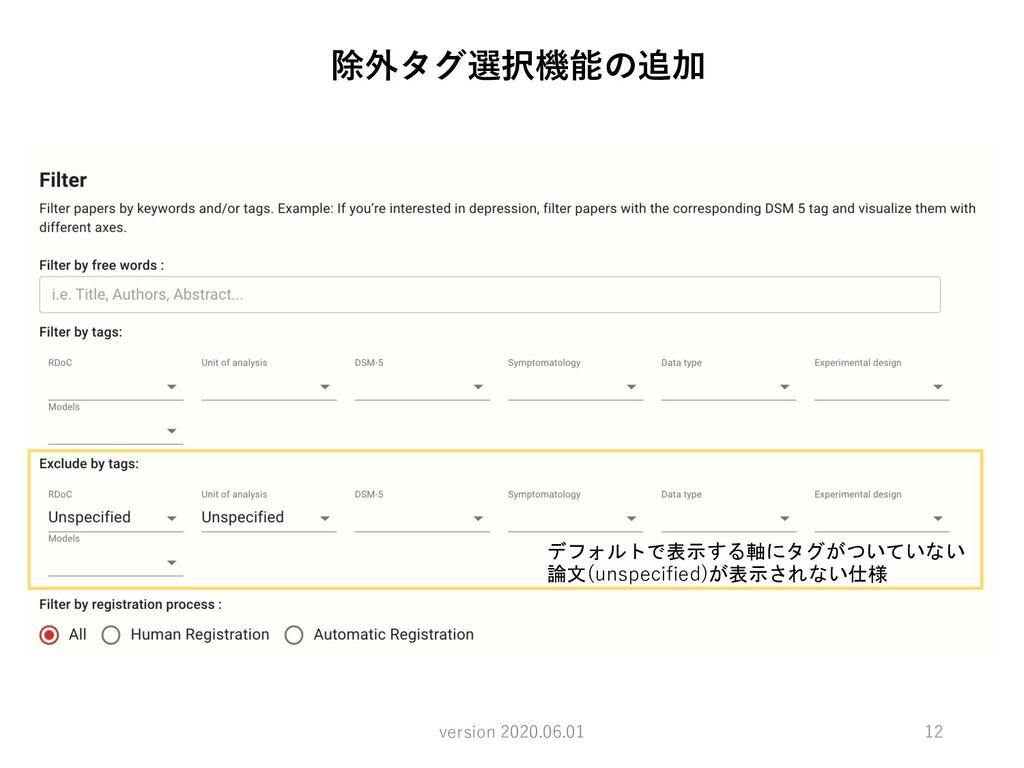 12 除外タグ選択機能の追加 version 2020.06.01 デフォルトで表示する軸にタ...