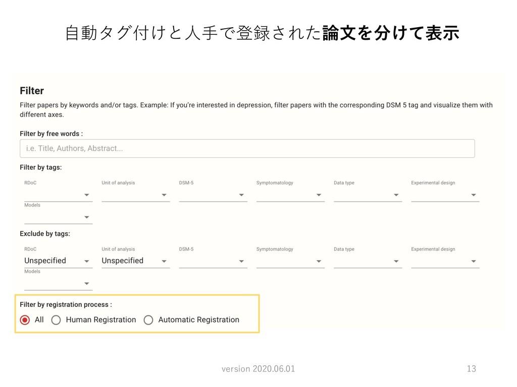 13 ⾃動タグ付けと⼈⼿で登録された論⽂を分けて表⽰ version 2020.06.01