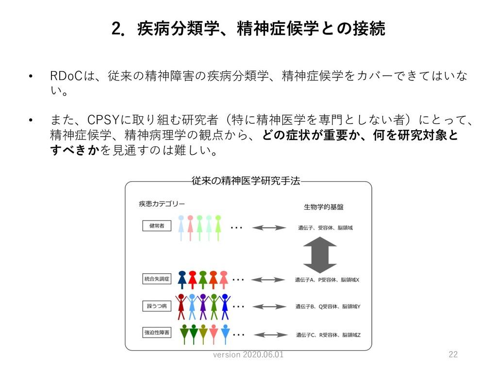 22 • RDoCは、従来の精神障害の疾病分類学、精神症候学をカバーできてはいな い。 • ま...