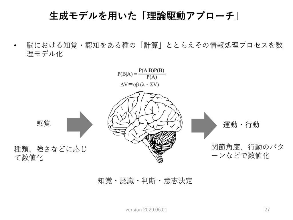 知覚・認識・判断・意志決定 感覚 運動・⾏動 種類、強さなどに応じ て数値化 関節⾓度、⾏動の...