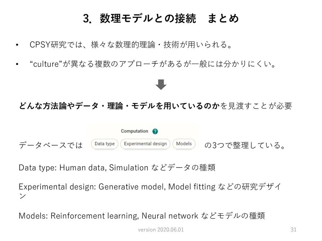 31 version 2020.06.01 3.数理モデルとの接続 まとめ • CPSY研究で...