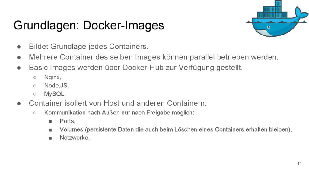 Grundlagen: Docker-Images ● Bildet Grundlage je...