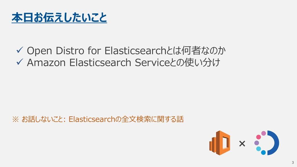 本日お伝えしたいこと ✓ Open Distro for Elasticsearchとは何者な...