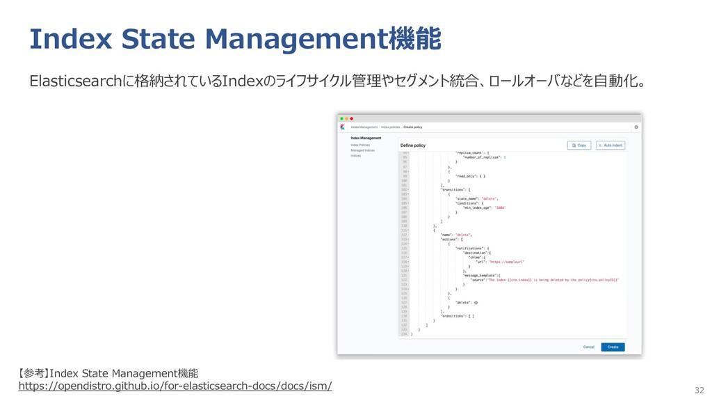 32 Index State Management機能 Elasticsearchに格納されて...