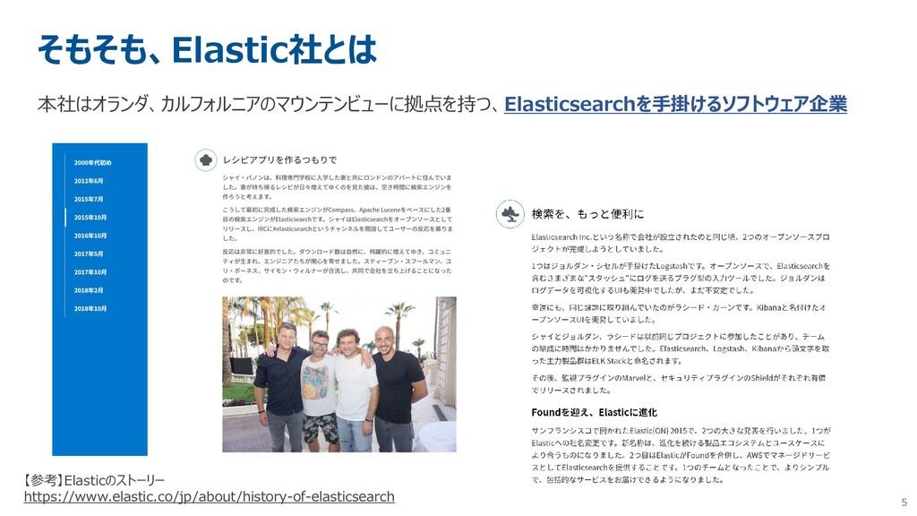 5 そもそも、Elastic社とは 本社はオランダ、カルフォルニアのマウンテンビューに拠点を持...